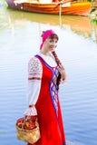 Woman in dress suit stylized Ukrainian folk Stock Images