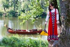 Woman in dress suit stylized Ukrainian folk Royalty Free Stock Photos