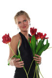 Woman in dress with tulips Royalty Free Stock Photos