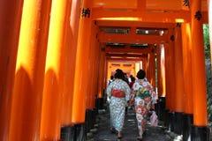 Woman dress up as geisha at Fushimi Inari stock images