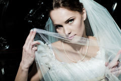 Woman dressed as a bride Stock Photo