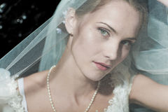 Woman dressed as a bride Royalty Free Stock Image