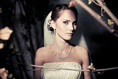 Woman dressed as a bride Stock Image