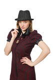 Woman dressed as gangster isolated Stock Photo