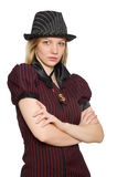 Woman dressed as gangster isolated Royalty Free Stock Photography