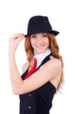 Woman dressed as gangster isolated Stock Image