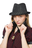 Woman dressed as gangster isolated Royalty Free Stock Photos