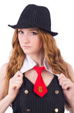 Woman dressed as gangster isolated Royalty Free Stock Images
