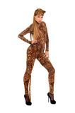 Woman dressed as a leopard Stock Photo