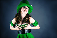 Woman dressed as leprechaun Royalty Free Stock Photo
