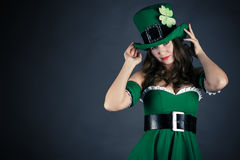 Woman dressed as leprechaun Stock Photography