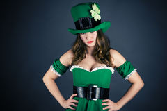 Woman dressed as leprechaun Royalty Free Stock Photography