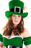 Woman dressed as a leprechaun Stock Photo