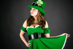 Woman dressed as a leprechaun Royalty Free Stock Photography