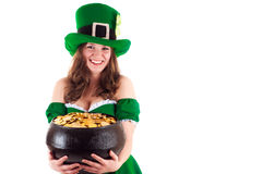 Woman dressed as a leprechaun Royalty Free Stock Image
