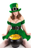 Woman dressed as a leprechaun Stock Photos