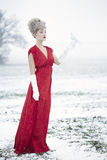 Woman dressed as Mrs claus Stock Images