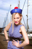 Woman dressed as a sailor Royalty Free Stock Photo