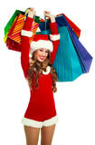 Woman dressed as Santa Stock Image