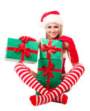 Woman dressed as Santa Royalty Free Stock Photos