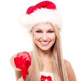Woman dressed as Santa Stock Image