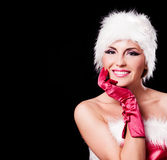 Woman dressed as Santa Stock Images