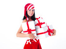 Woman dressed as Santa Stock Photography