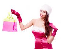 Woman dressed as Santa Royalty Free Stock Image