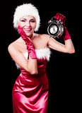 Woman dressed as Santa Stock Photos