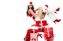 Woman dressed as Santa claus Stock Photography