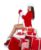 Woman dressed as Santa claus Royalty Free Stock Photography