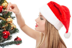 Woman dressed as Santa Claus and a fir tree Royalty Free Stock Photos