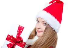 Woman dressed as Santa and holding xmas gift Stock Image
