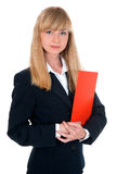 Woman dressed in a business suit keeps folder Royalty Free Stock Image