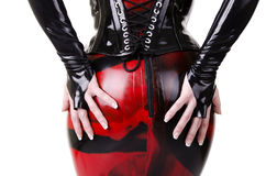 Woman dressed in dominatrix clothes. From back Stock Image