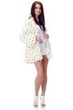 Woman dressed flower coat stock image