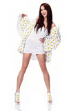 Woman dressed flower coat Stock Photography