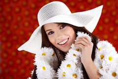 Woman dressed flower coat Royalty Free Stock Images