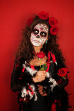 Woman Dressed For All Souls Day Stock Images