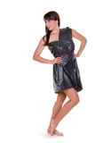 Woman dressed in garbage bag royalty free stock image