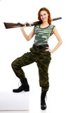 Woman dressed in green camouflage Stock Photo