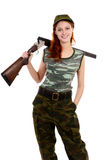 Woman dressed in green camouflage Royalty Free Stock Photography