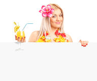 Woman dressed in a hawaiian costume Royalty Free Stock Image