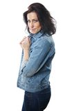 Woman dressed in jeans Stock Photography