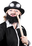 Woman Dressed Like Man With Large Pencil Stock Images