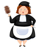 Woman Dressed Maid. On white background Royalty Free Stock Photography