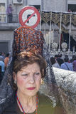 Woman dressed in mantilla during a procession of holy week, Spai Royalty Free Stock Photos