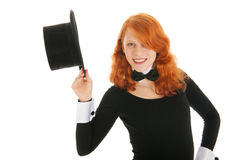 Woman dressed for party with black silk hat Stock Photos