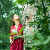 Woman dressed in red Royalty Free Stock Images