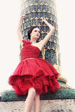 Woman in Paris, dressed in red ballerina dress Royalty Free Stock Photo
